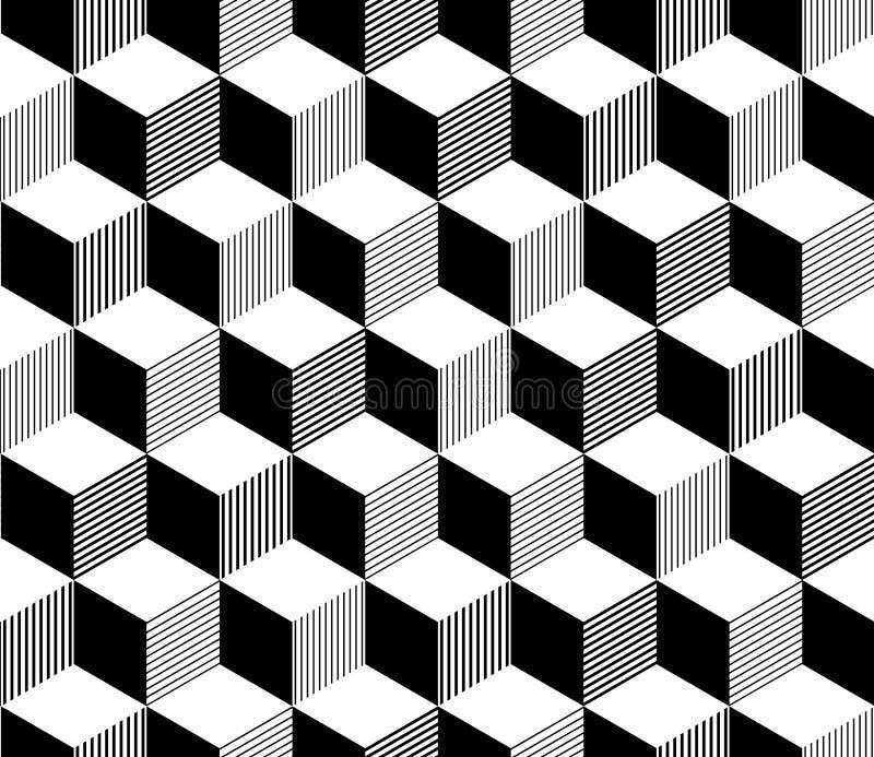Abstract 3d gestreept kubussen geometrisch naadloos patroon in zwart-wit, vector stock illustratie