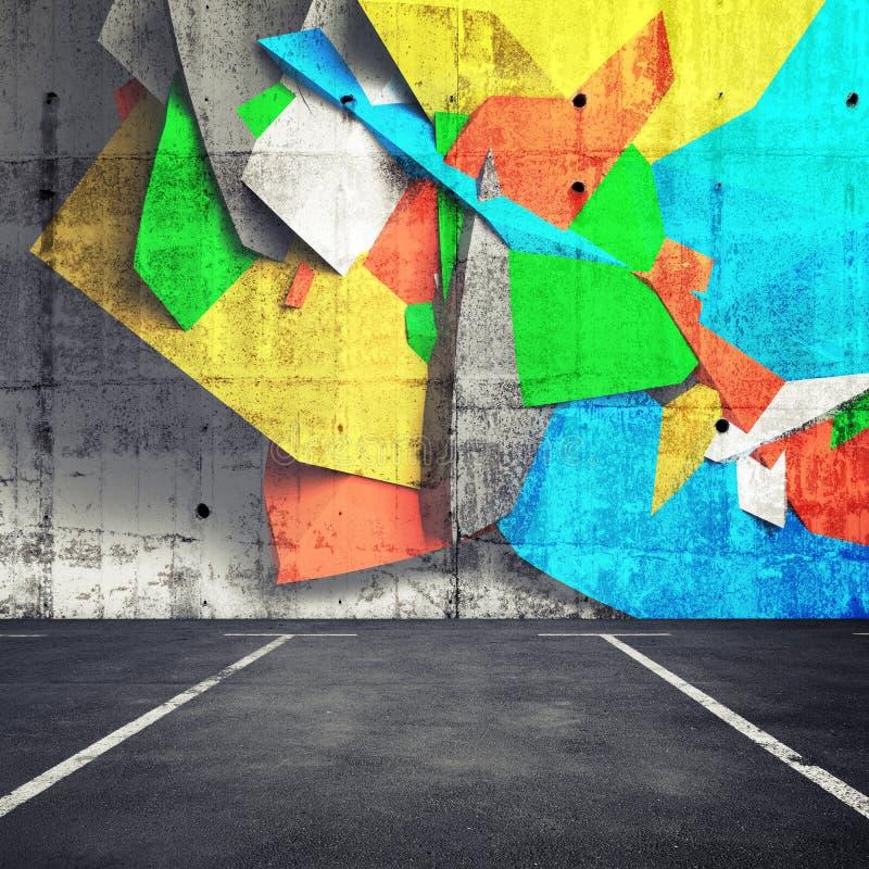 Abstract 3d graffiti fragment on wall of parking interior stock illustration
