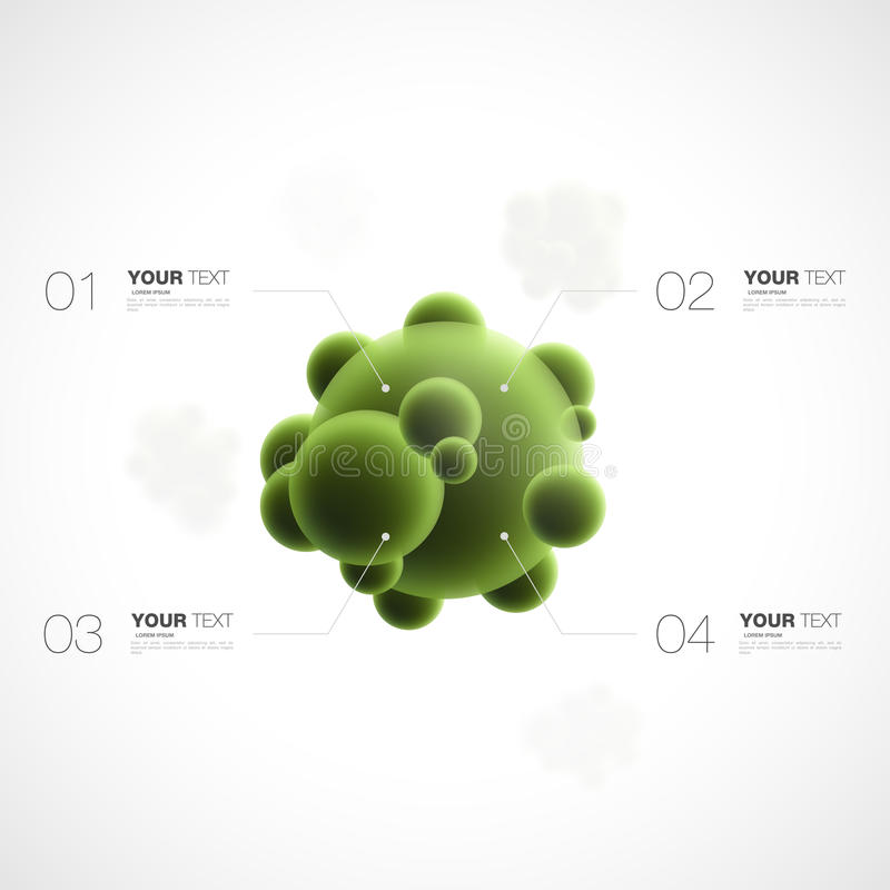 Abstract 3d green bacteria with infographics template vector illustration