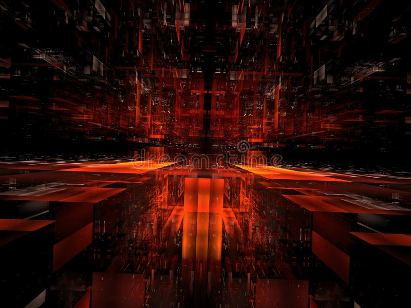 Abstract hall or futuristic tunnel - digitally generated 3d illustration. Abstract 3d illustration - computer-generated fractal. Digital art: translucent block stock illustration