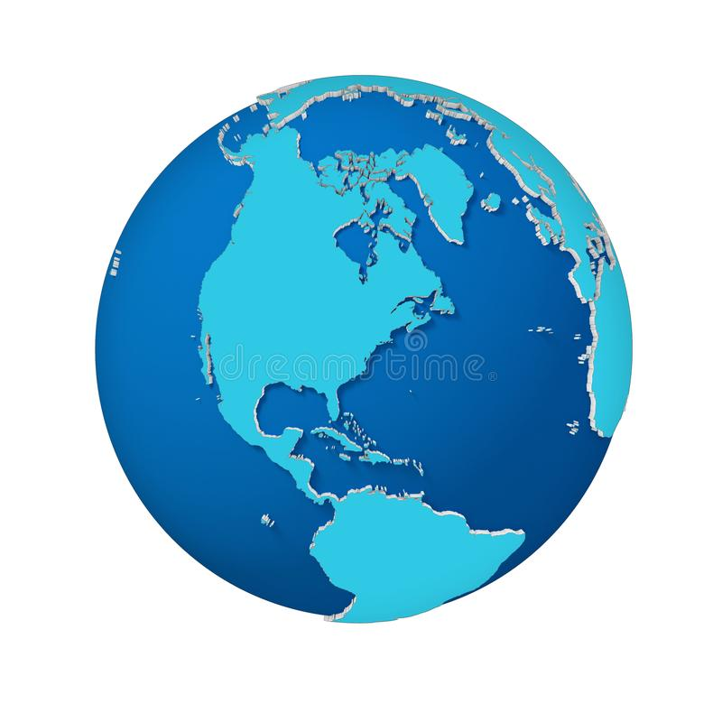 Abstract 3d illustration of Earth isolated view North America stock illustration