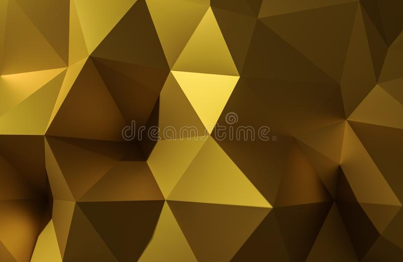 Abstract 3d illustration gold polygonal, Low poly shape for design. royalty free stock images