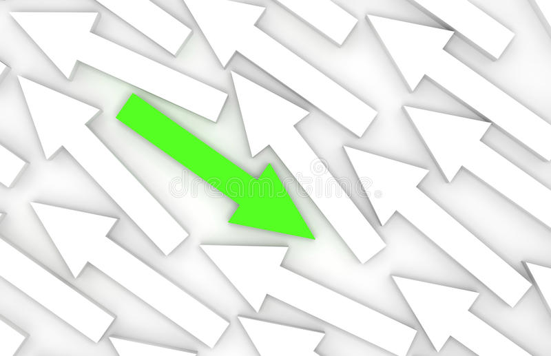 Abstract 3d illustration, one green arrow goes opposite royalty free illustration
