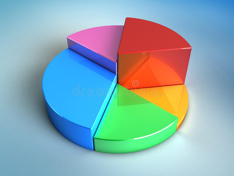 Pie chart. Abstract 3d illustration of pie glossy chart over blue background royalty free illustration