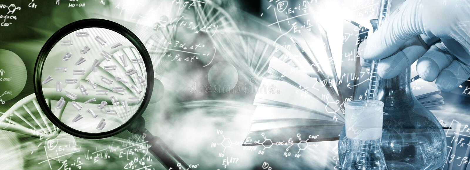 Abstract 3d image of a DNA chain and letters of the alphabet flying in space on a blurry background. Close-up.Magnifier as a symbol of research stock images