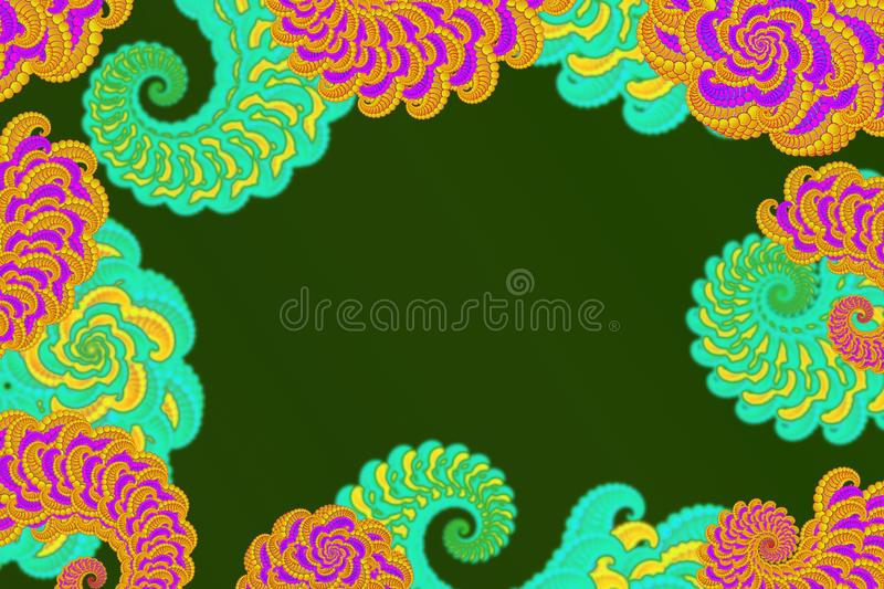 Abstract 3D-image with a volume on a green background of patterned colored fractal elements, modern stylish fantasy screensaver royalty free illustration
