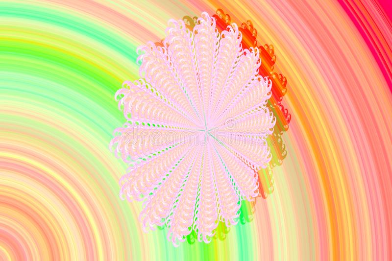 Abstract 3D-image with a volume on a multicolored background with a fractal complex patterned element in the form of a Daisy flowe royalty free stock images