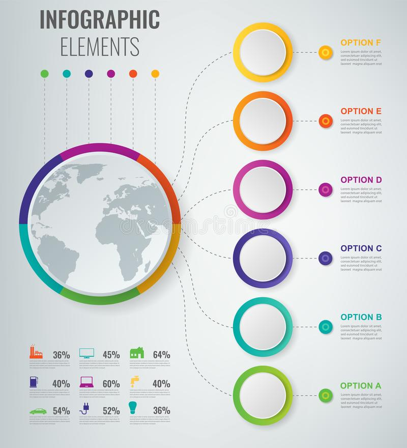 Abstract 3D infographic malplaatje met 6 opties Bedrijfspresentatieconcept Vector stock illustratie