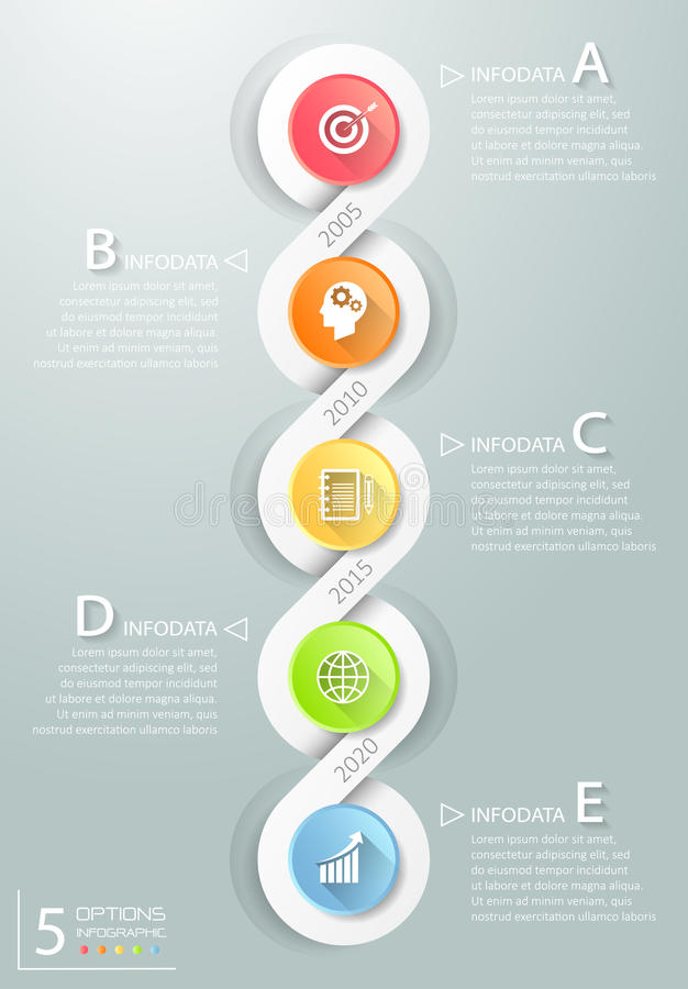 Abstract 3d infographic 5 options, Business concept infographic. Template can be used for workflow layout, diagram, number options, timeline or milestones vector illustration