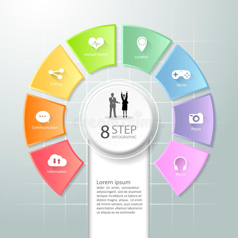 Abstract 3d infographic 8 options, Social media concept infographic. Template can be used for workflow layout, diagram, number options, timeline or milestones vector illustration