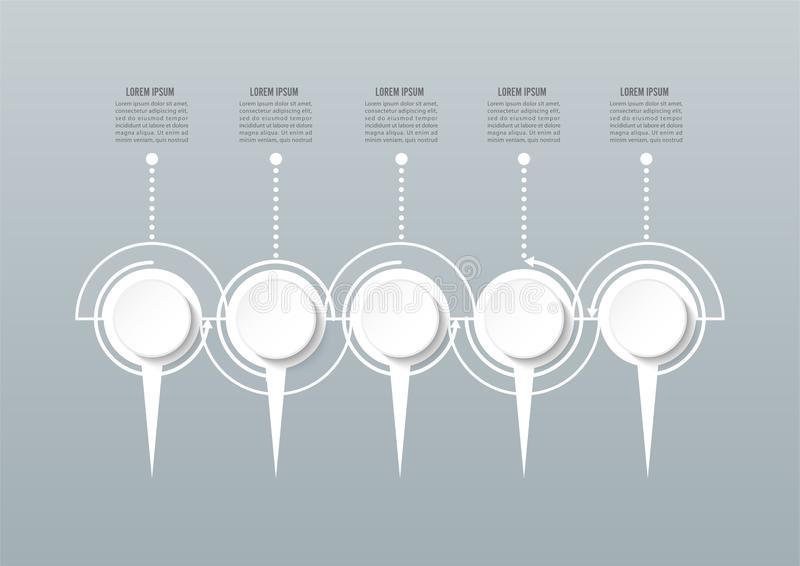 Abstract 3D infographic template with a five steps for success. Business circle template with options for brochure, diagram, royalty free illustration