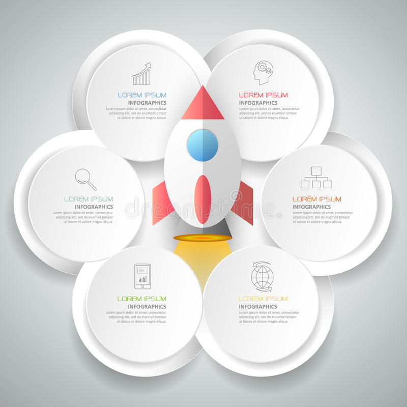 Abstract 3d infographic template 6 steps, vector illustration