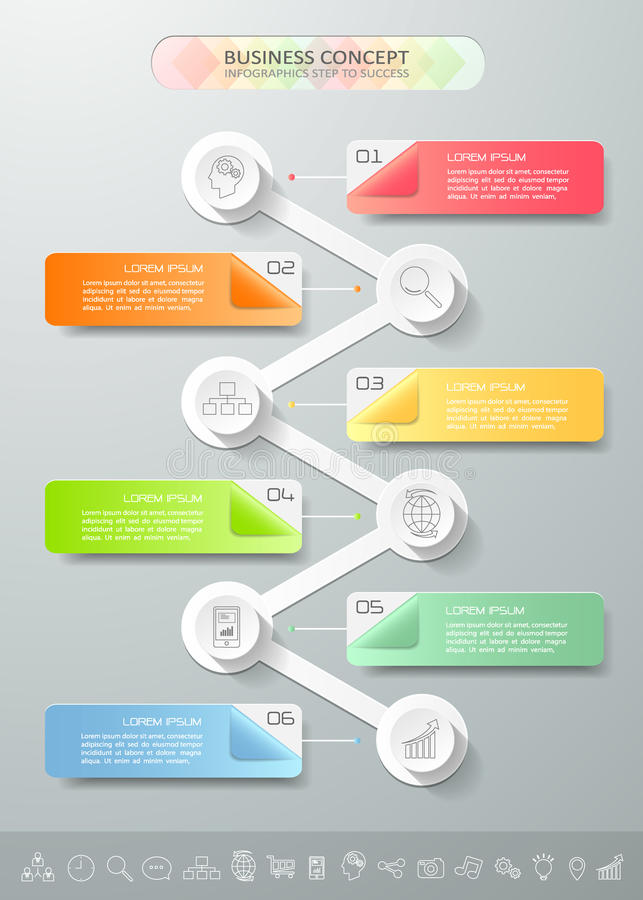 Abstract 3d infographic template 6 steps,. Can be used for workflow layout, diagram, number options, graphic or website layout stock illustration