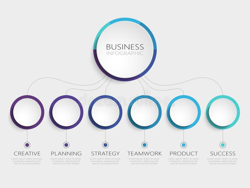 Abstract 3D Infographic Template with 6 steps for success. Business circle template with options for brochure, diagram, workflow. Timeline, web design. Vector stock illustration