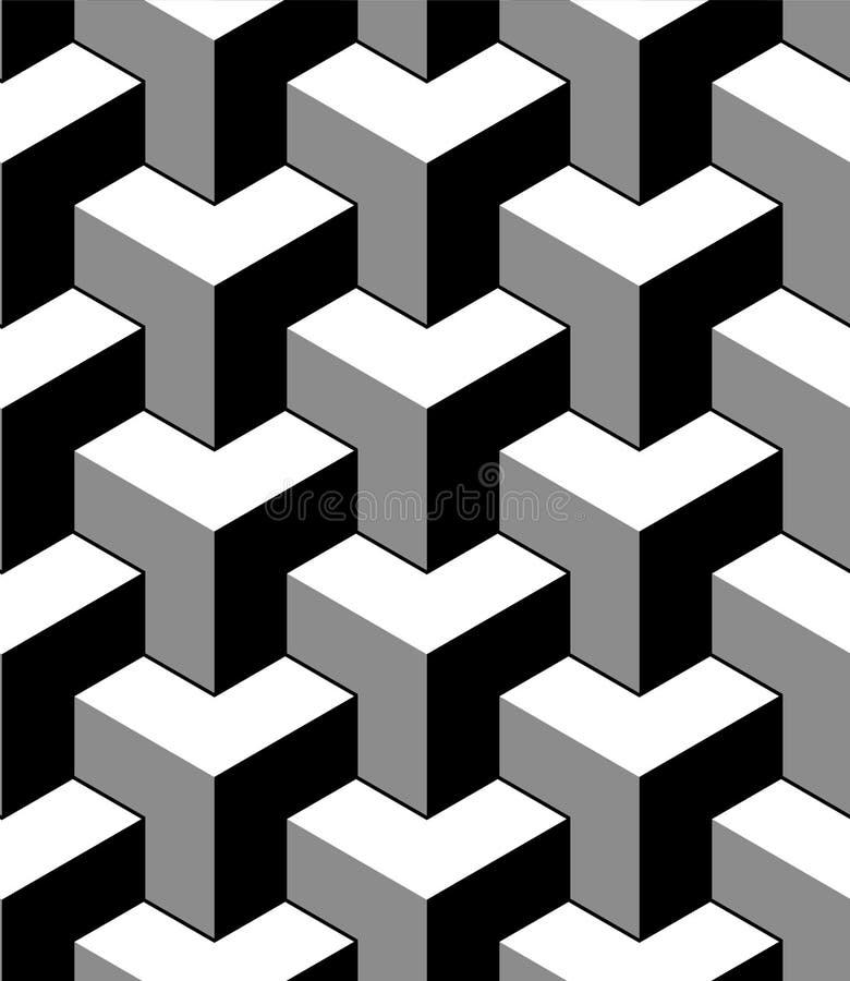 Abstract 3d kubussen geometrisch naadloos patroon in zwart-wit, vector vector illustratie