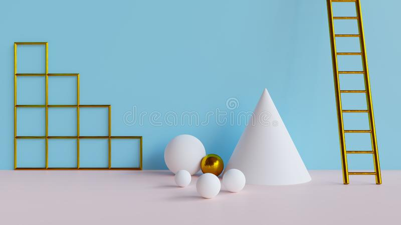 Abstract 3d minimal background. Abstract 3d rendered background with geometric shapes vector illustration
