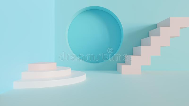 Abstract 3d minimal background. Abstract 3d rendered background with pastel colors royalty free illustration