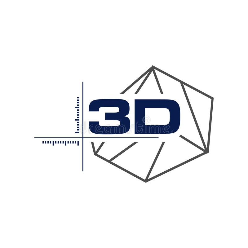 Abstract 3d modeling polygonal wireframe logo vector geometric shape design element. Trigonometry, connected, facet, technological, corporate, cyber, group stock illustration