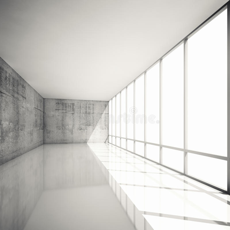 Abstract 3d modern architecture background, empty interior vector illustration