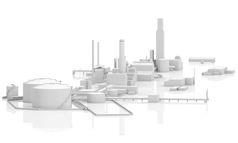 Abstract 3d modern industrial facility stock illustration