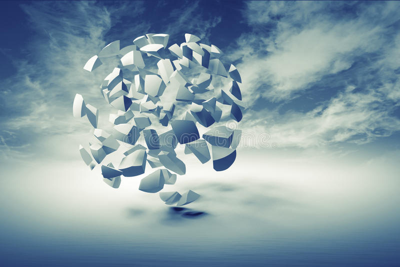 Abstract 3d object, cloud of small spherical fragments royalty free illustration