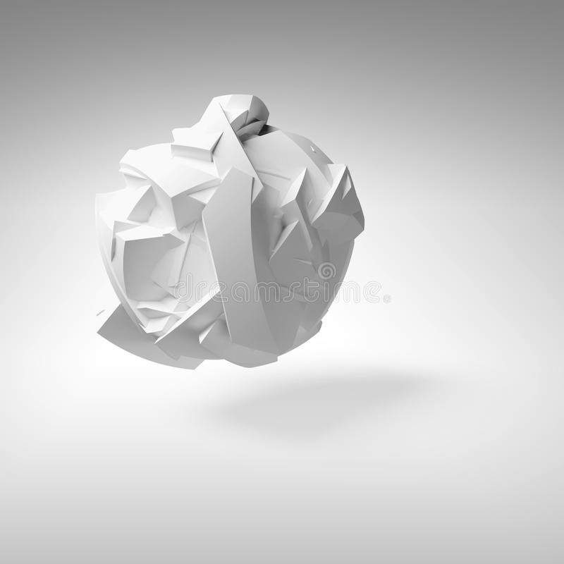 Abstract 3d object, white big flying fragmented shape vector illustration
