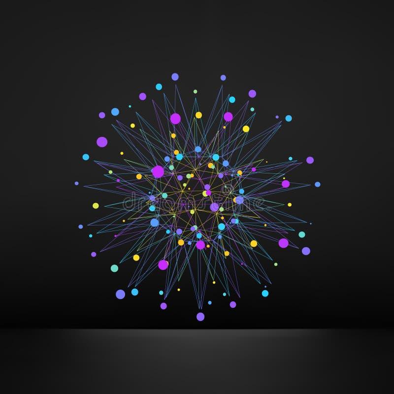 Abstract 3d ontwerpelement, embleem Verschillende lichtenpunten stock illustratie