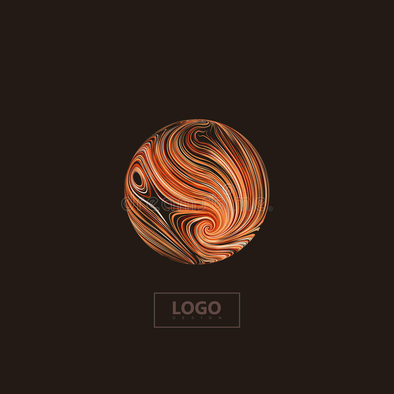 Abstract 3D orange sphere textured with swirled colorful lines royalty free illustration