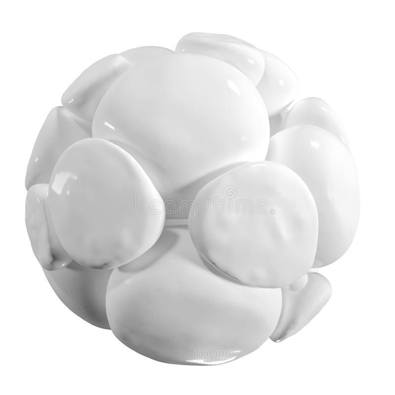Abstract 3d organic shape. Soft white balls with light reflections. Graphic design element for poster, banner, web and other creat. Ive projects. Isolated stock illustration