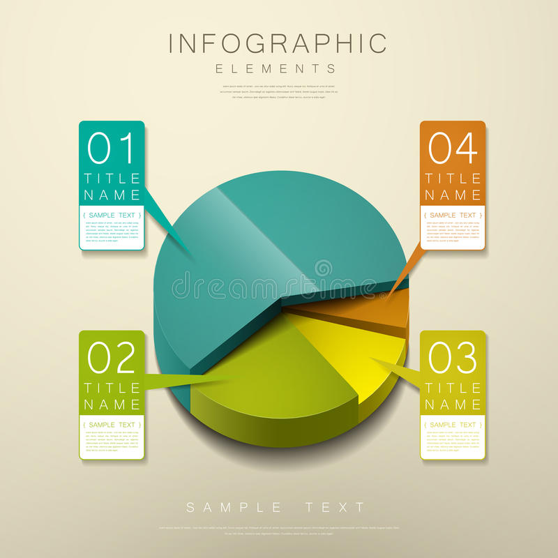 Abstract 3d pie chart infographics royalty free illustration
