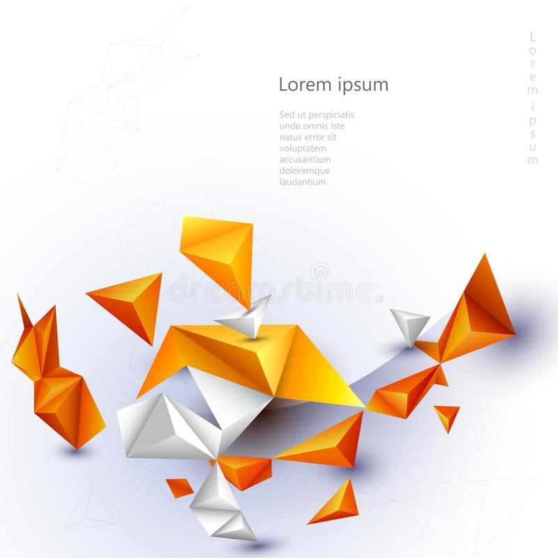 Abstract 3D Geometric, Polygon, Yellow-orange gradient color triangle pattern shape on white color background. royalty free illustration