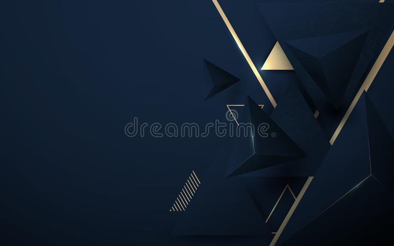 Abstract 3D polygonal pattern luxury dark blue with gold background royalty free illustration