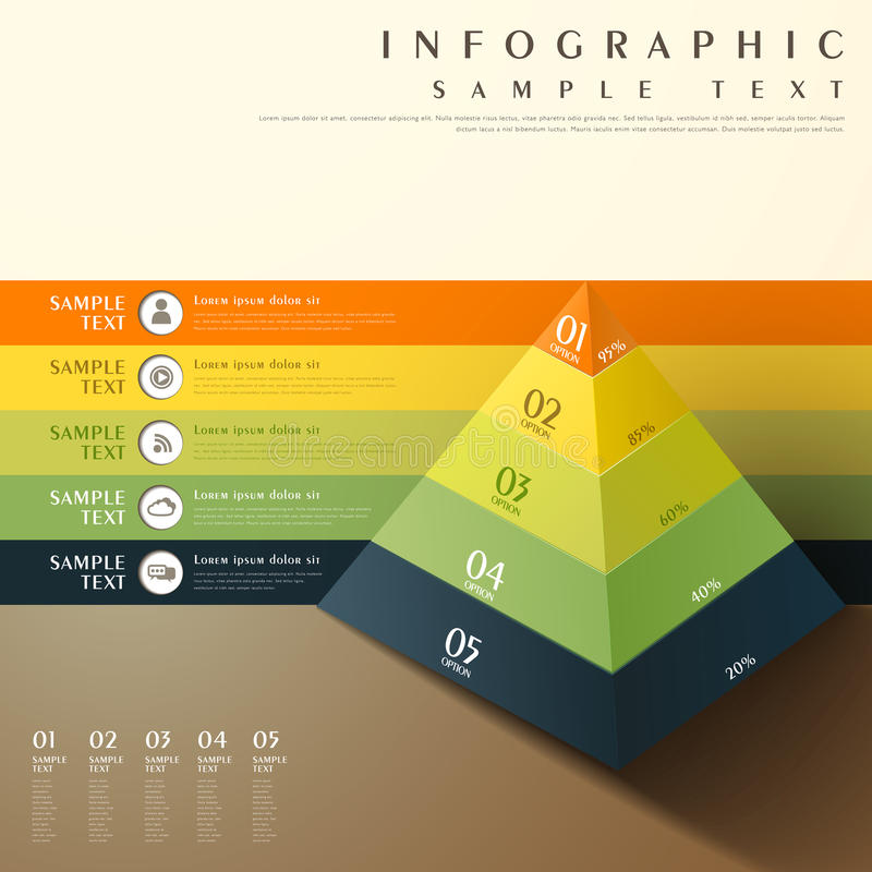 Abstract 3d pyramid chart infographics stock illustration