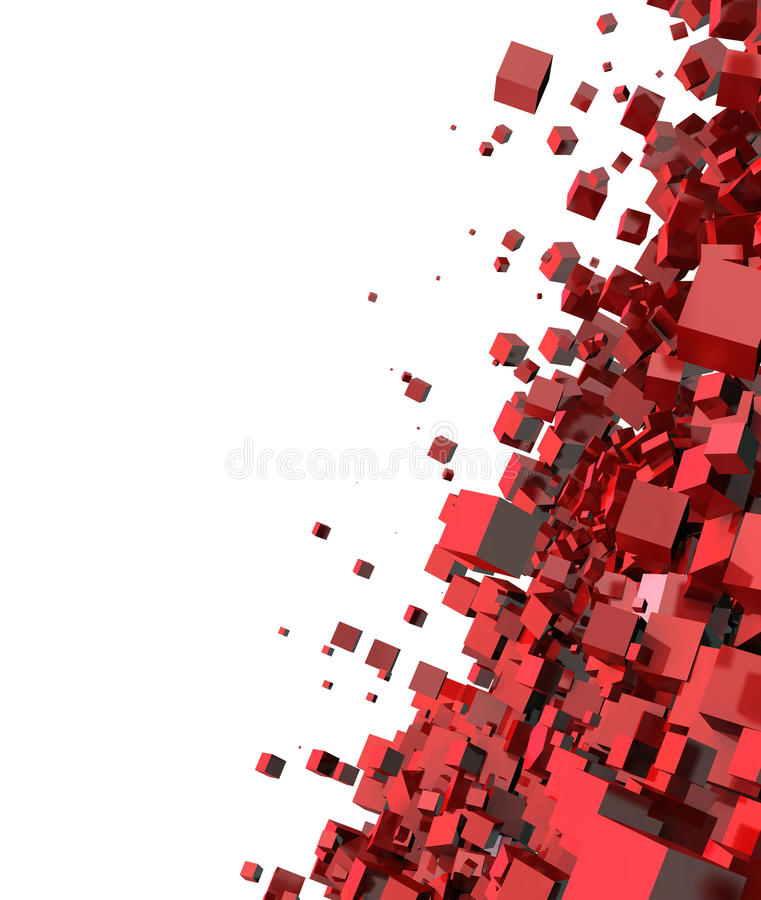 Abstract 3d red cubes. Abstract 3d illustration of red cubes forming together on white background with copy space stock illustration
