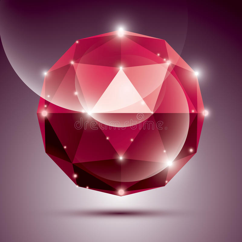 Abstract 3D red shiny sphere with sparkles, ruby glossy orb stock illustration