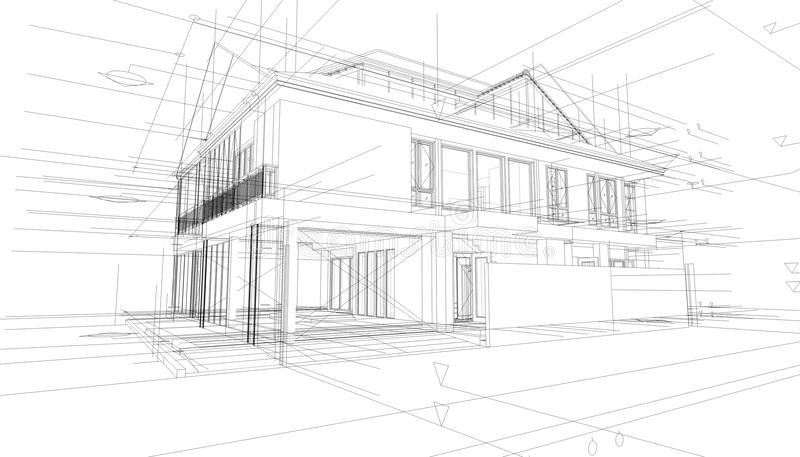 abstract 3d render of building wireframe structure  stock illustration