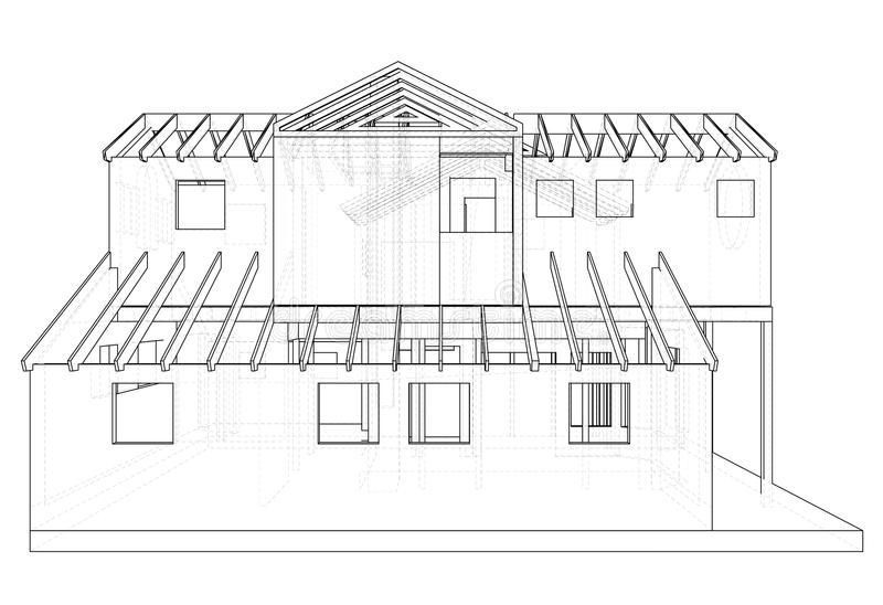 Abstract 3D render of building wireframe structure. Construction graphic. Tracing illustration of 3d vector illustration