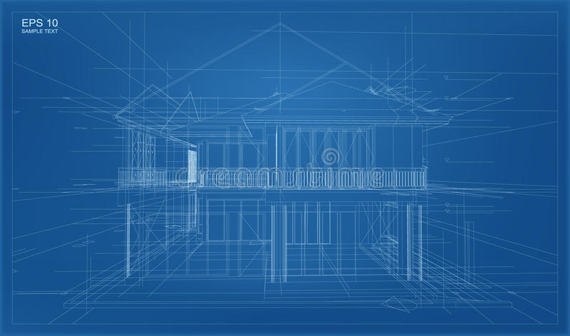 Abstract 3D render of building wireframe structure. vector illustration