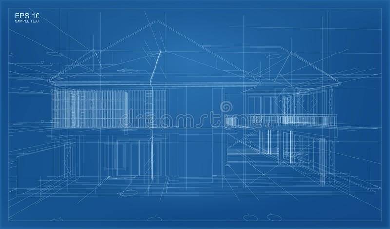 Abstract 3D render of building wireframe structure. stock illustration