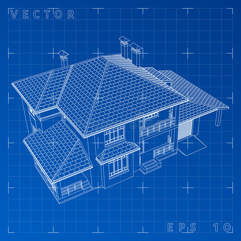 Abstract 3D render of building wireframe - Vector illustration. Eps 10 royalty free stock photography