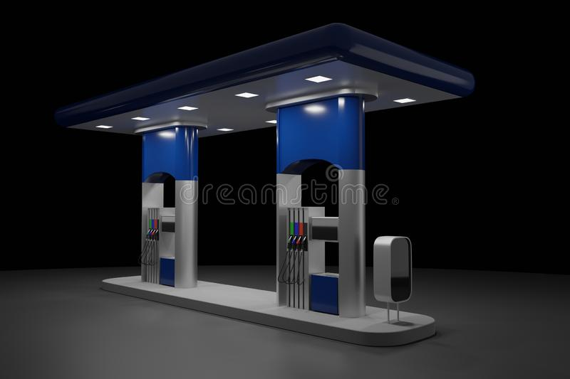 Abstract 3d Render of gas station isolated on black background vector illustration