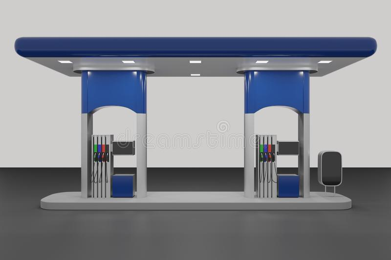 Abstract 3d Render of gas station isolated on white background royalty free illustration