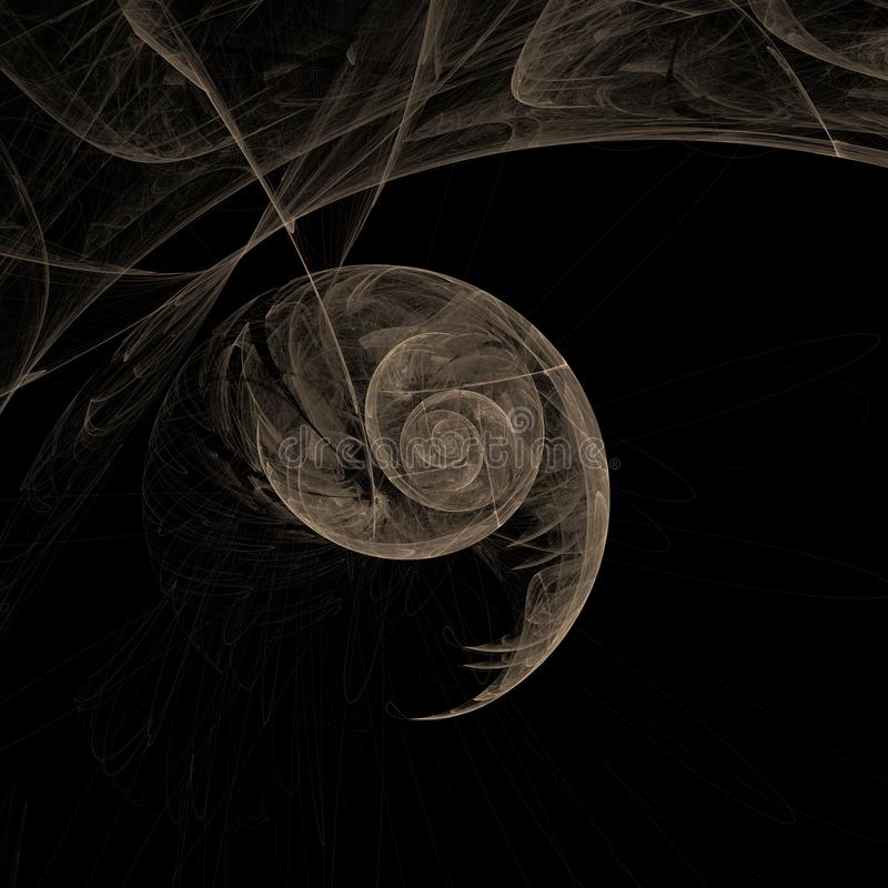 Abstract 3d render reminiscent a wasp nest or a shell of snail stock photos