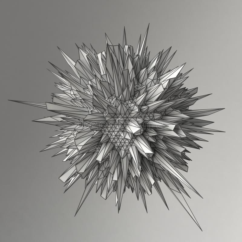 Abstract 3d render sphere polygons royalty free stock photo