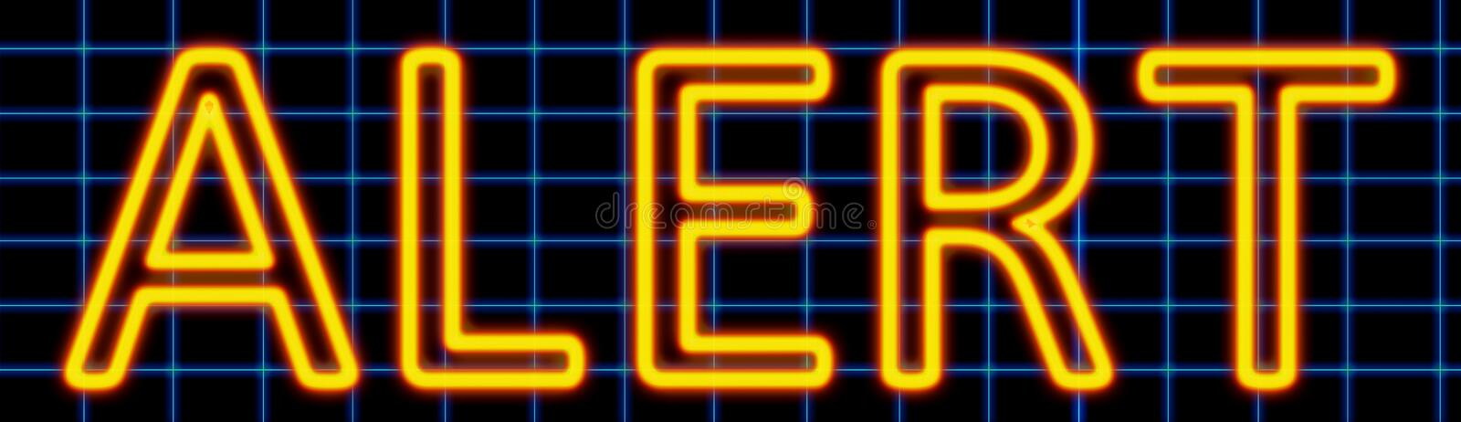 Alert neon sign. Abstract 3d rendered words alert yellow neon sign on blue wire background stock illustration