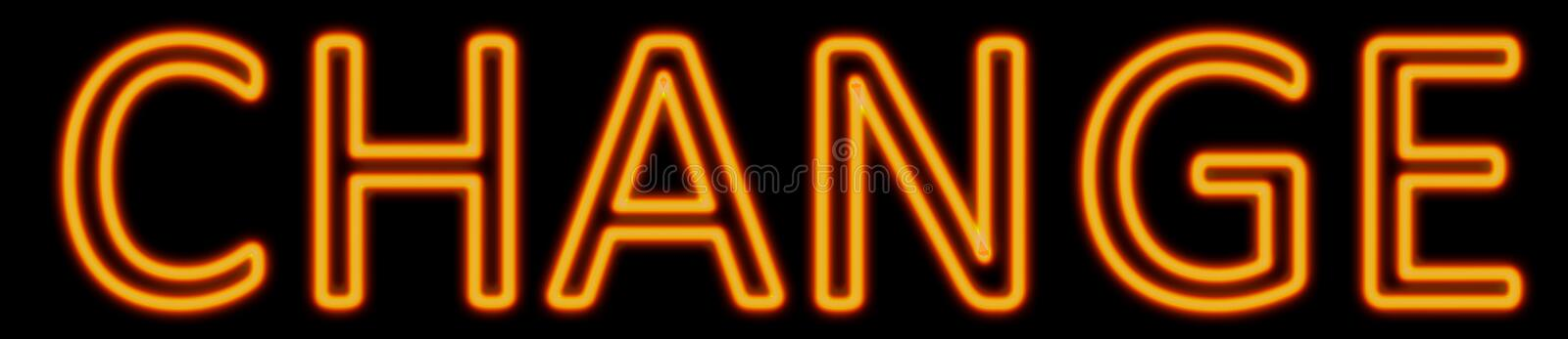 Change neon sign. Abstract 3d rendered words change orange neon sign on black background royalty free illustration