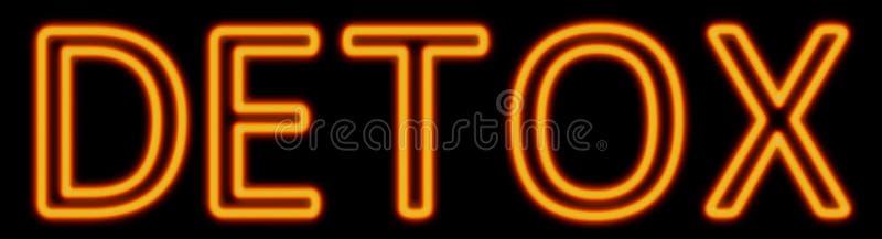 Detox neon sign. Abstract 3d rendered words detox orange neon sign on black background royalty free illustration