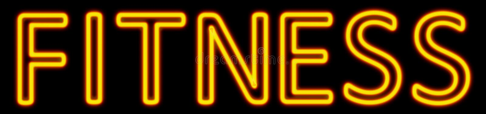 Fitness neon sign. Abstract 3d rendered words fitness yellow neon sign on black background royalty free illustration