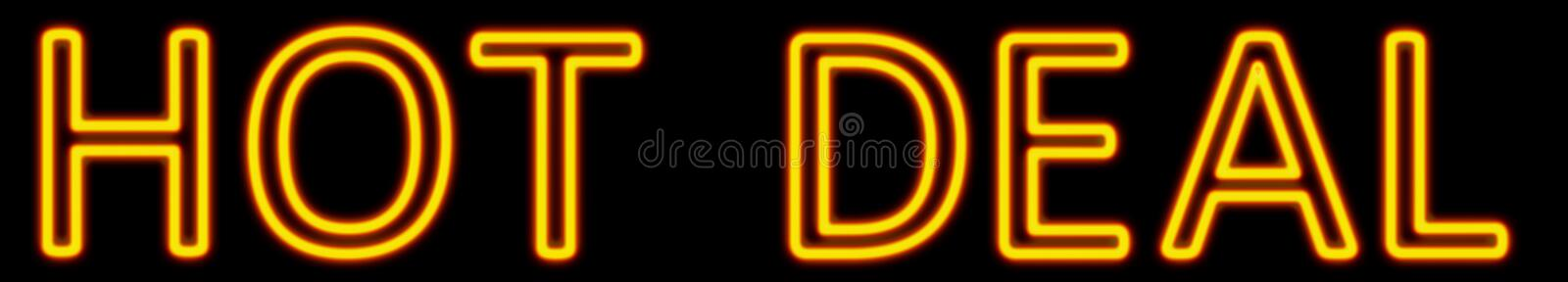 Hot deal neon sign royalty free illustration