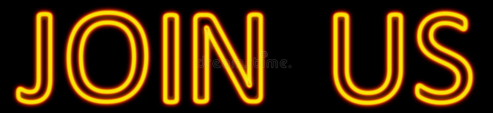 Join us neon sign stock illustration